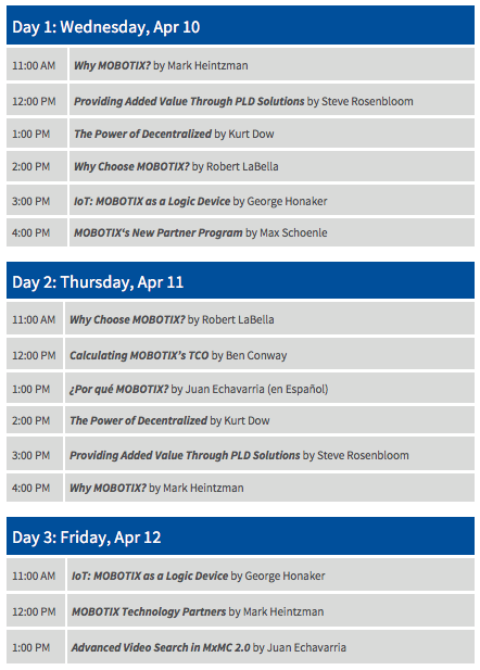 ISC West 2019 Presentation Schedule
